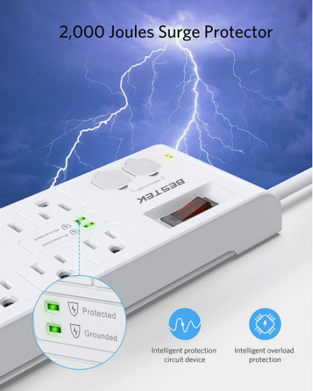 8-Outlet 2000 Joules with Smart USB Ports Power Strip