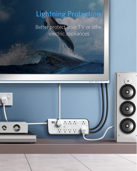 4000 Joule 10-Outlet Dual USB Surge Protector