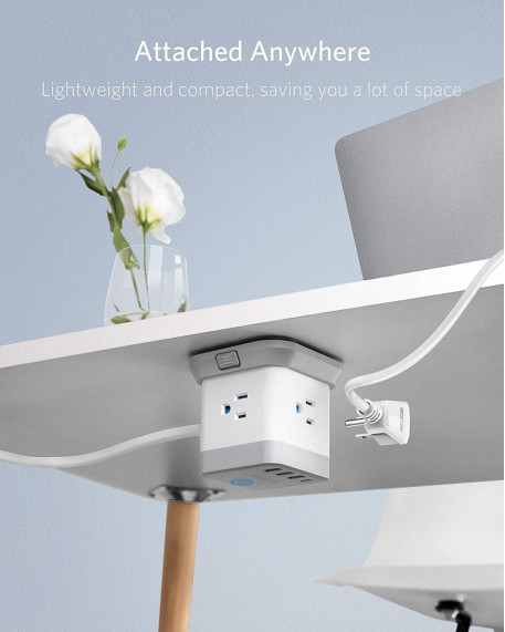 3-Outlet Vertical Cube Mountable Power Strip