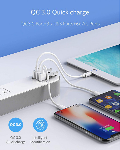 6-Outlet 4 Quick Charge USB Ports Power Strip