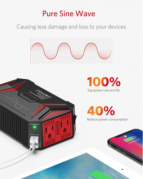 300W Pure Sine Wave with 4.2A 2 USB Power Inverter