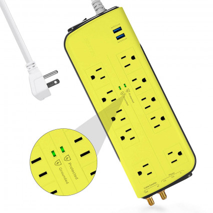 BESTEK 4000 Joule 10-Outlet Surge Protector with 2.4A Dual USB, 6ft Cord (Yellow)