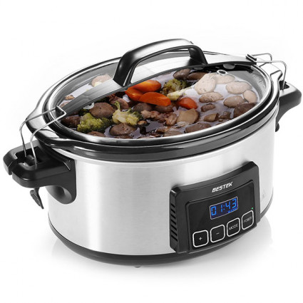 BESTEK Slow Cooker 6 Quart Programmable Timer Oval Pot with Latch Lock Lid