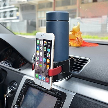 BESTEK Car Cup Holder Adapter 2 in 1 Combo and Automobile Car Mount Holder for iPhone, Samsung and More