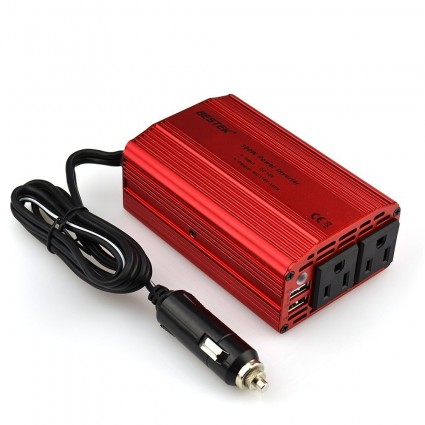 BESTEK Power Inverter 300W with Dual 110V AC Outlets & 3.8ft Battery Clips Cable Cigarette Lighter Socket CA Charger