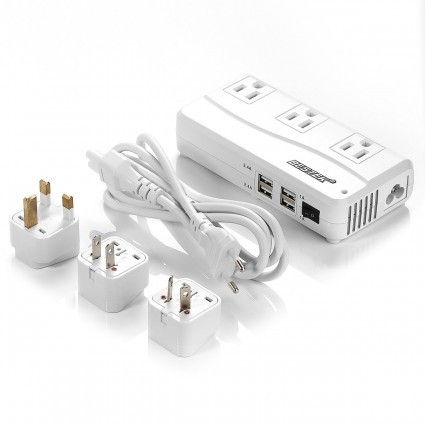 BESTEK Voltage Converters 220V to 110V with 6A 4 USB Ports 200W Rated Power for International Travel