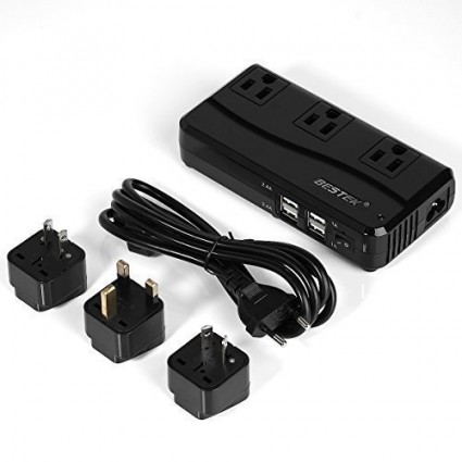 BESTEK 4-Port USB Voltage Converter 220V to 110V with 3 Travel Adapters