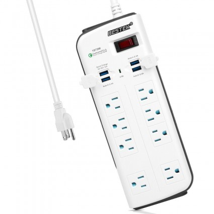 BESTEK Surge Protector Power Strip 8-Outlet 6.6-Foot with 7.5A 4-Port USB Charging Station
