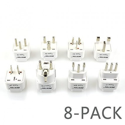 BESTEK Grounded Plug Adapter 8 Packs International Travel Adapter UK India, Australia, HK, Japan, Germany, Israel