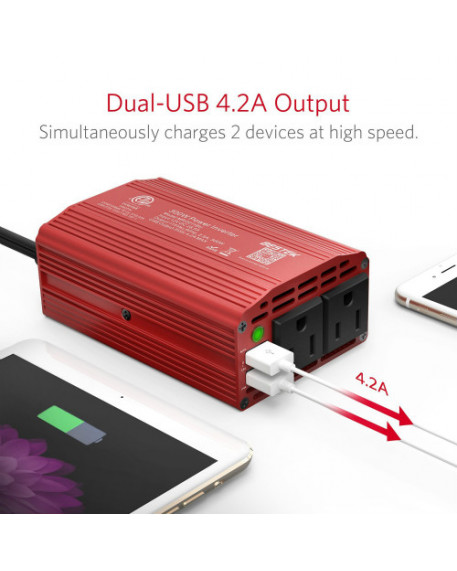 2-Outlet 300W Car Power Inverter