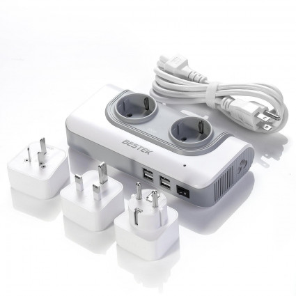 BESTEK Voltage Converters 100-120V to 230V±10V with 6A 4 USB Ports 200W Rated Power for International Travel FR Charger