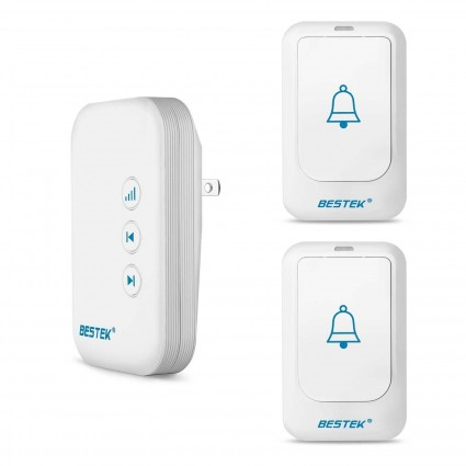 BESTEK Wireless Doorbell Kit 36 Chimes with 2 Transmitter, 1 Receiver
