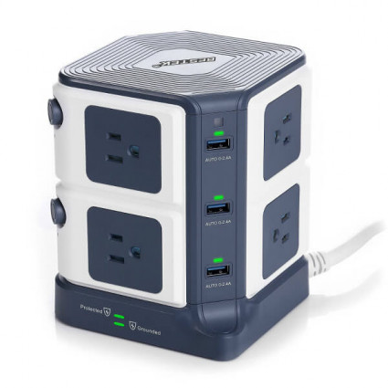 BESTEK 8-Outlet Desktop Power Strip  with 8A 6 USB ports 1500J