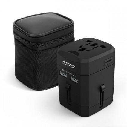 BESTEK International Travel Adapter with 2.4A Dual USB UK/US/EU/AU Adapters