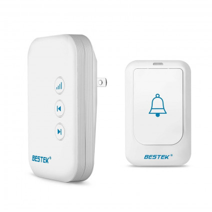 BESTEK Wireless Doorbell Kit 36 Chimes with 1 Remote Button, 1 Receiver