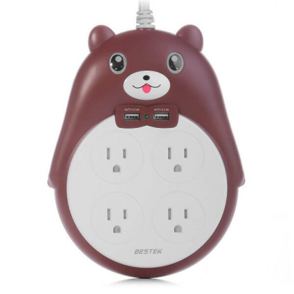BESTEK Cute 2-USB Power Strip for Girls with 4  Outlets 900J Brown
