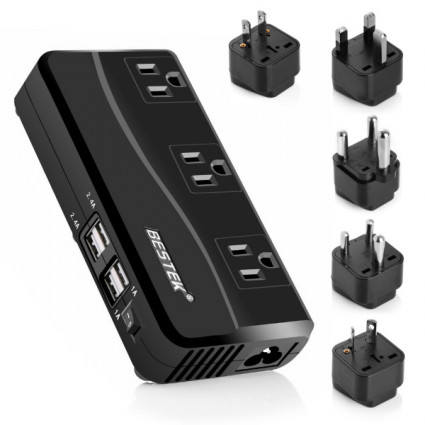 BESTEK 200W Power Converter 3-Outlet and 4-Port USB Travel Voltage Transformer 220V to 110V with Type G/D/M/AU/US Travel Plug Adapters