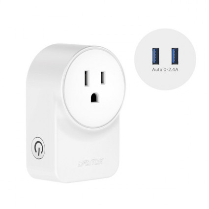 Smart Plug by BESTEK, Works with Amazon Alexa, Google Assistant and IFTTT, No Hub Required [ETL Listed] - 10A 1250W Max with 2 USB Port