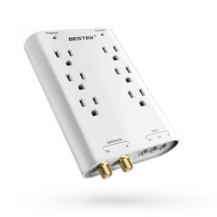 BESTEK 6-Outlet Surge Protector 750J Wall Mountable with Satellite/Telephne interfaces White