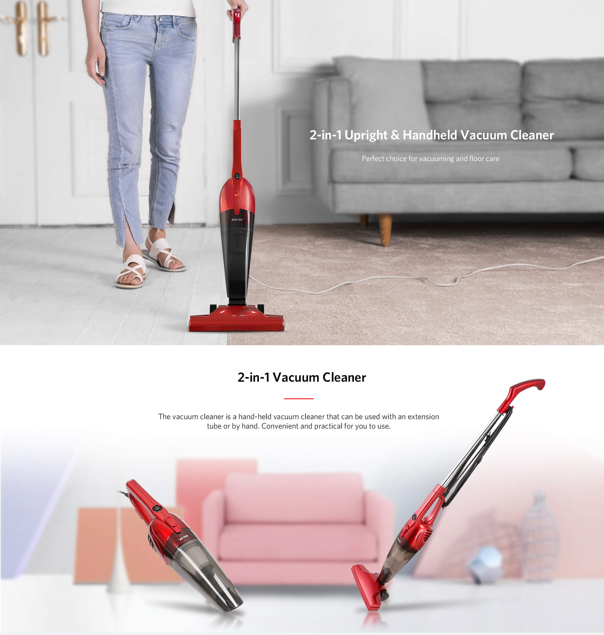 bestek vacuum cleaner 2 in 1 corded upright stick and handheld vacuum cleaners 6950334949817 ebay. Black Bedroom Furniture Sets. Home Design Ideas